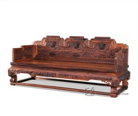 3 Seats Sofa Bed Rosewood Carven Dragon Living Room Chaise Lounge Solid Wood Studio Couch Padauk