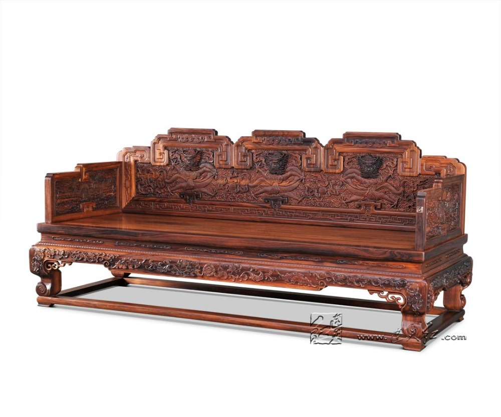 Modern wood furniture sofa - 3 Seats Sofa Bed Rosewood Carven Dragon Living Room Chaise Lounge Solid Wood Studio Couch Padauk