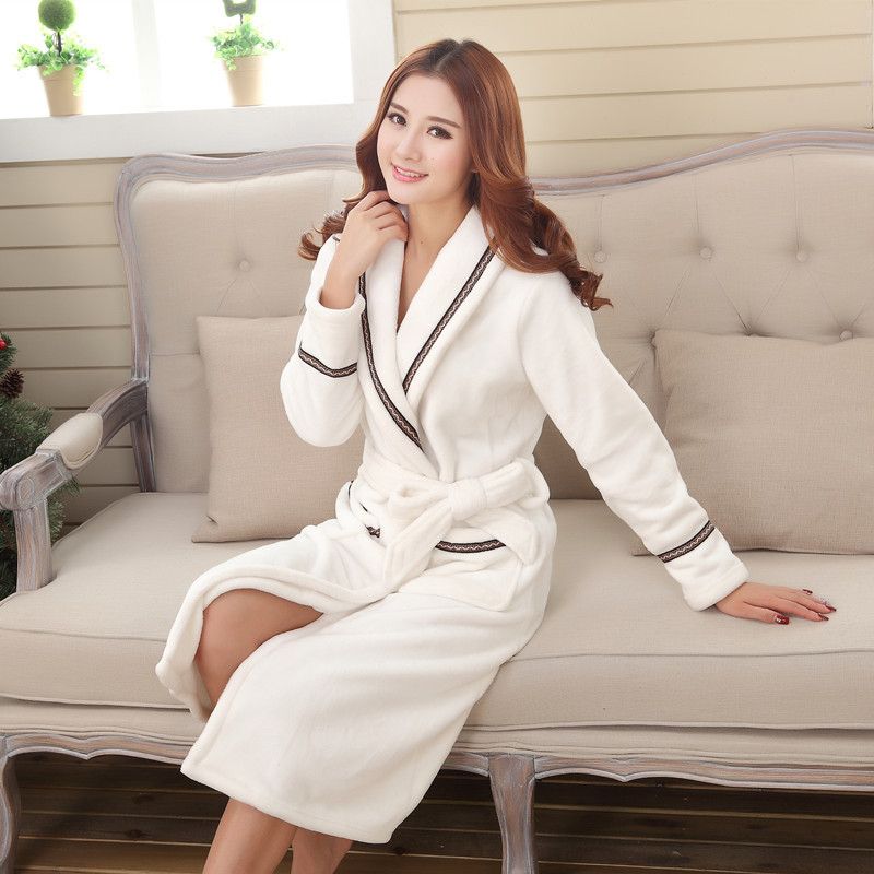 985a8d8578 Autumn Winter Women Thickening Cotton Flannel Pajamas Couples Bathrobe Coral  Sleece Warm Sleepwear Lovers Bath Robes-in Robes from Underwear    Sleepwears on ...