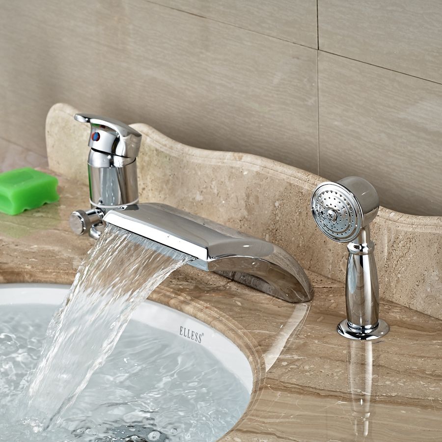 все цены на Wholesale And Retail Promotion Polished Chrome Brass Waterfall Bathroom Tub Spout W/ Hand Shower Sprayer Mixer