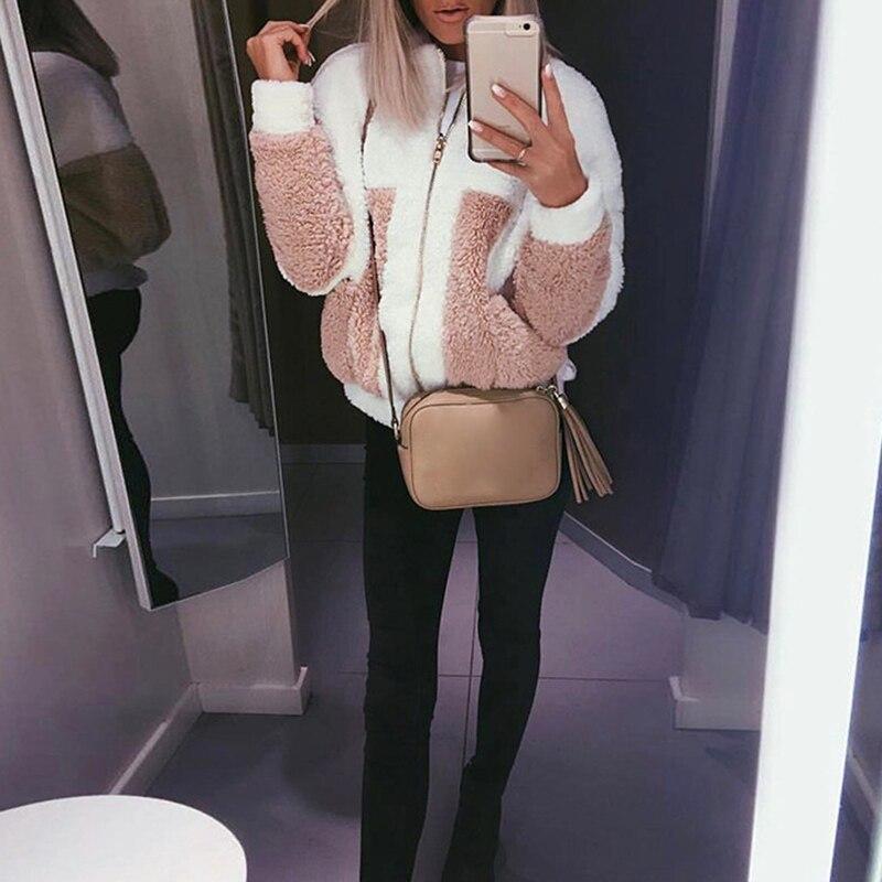 Faux Fur Warm Winter Coat Women Fashion Fluffy Shaggy Coats Cardigan Bomber Jacket Lady Fleece Jacket Coat Women Zipper Outwear