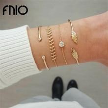 FNIO 4Pcs/Set Geometric Crystal Charm Bracelets for Women Gold Leaf Bangles Bracelets Set Simple Wrist Chain Lady Boho Bracelet
