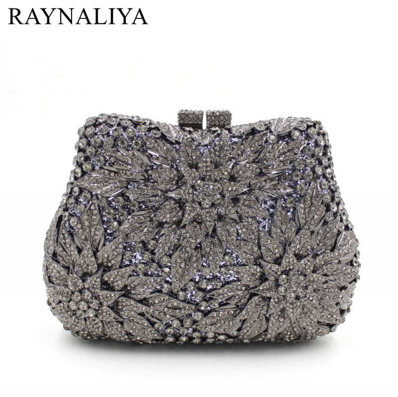 Woman Silver Crystal Evening Bags Fashion Glitter Party Purse Ladies Small Gift Female Luxury Clutch HandBag SMYZH-E0286 цена