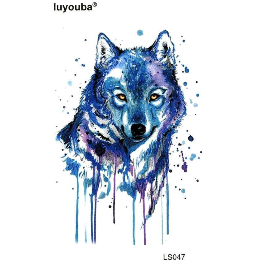 Blue Wolf Waterproof Temporary Tattoo Stickers Beauty Harajuku Tattoo Sleeve Body Feminino Wolf Tattoos Designs Tatoo Man