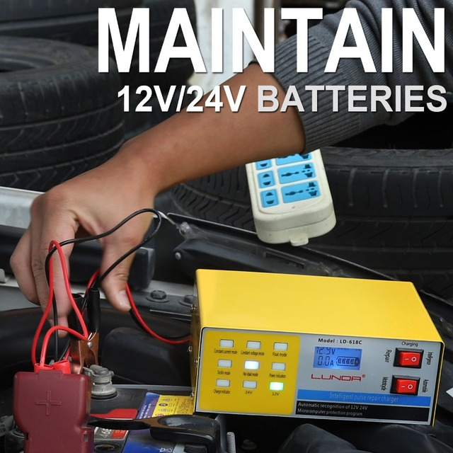 250V 12/24V 200AH Smart Pulse Repair Car Battery Charger Automatic 5 Stage Intelligent Charging For CarTruck Motorcycle