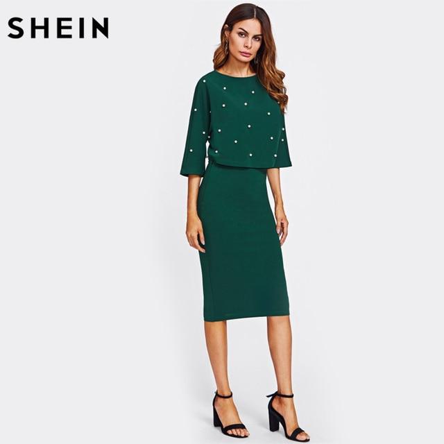 SHEIN Pearl Embellished Autumn Dress Elegant Womens Dresses Solid Green Half Sleeve Knee Length Sheath Two Piece 2