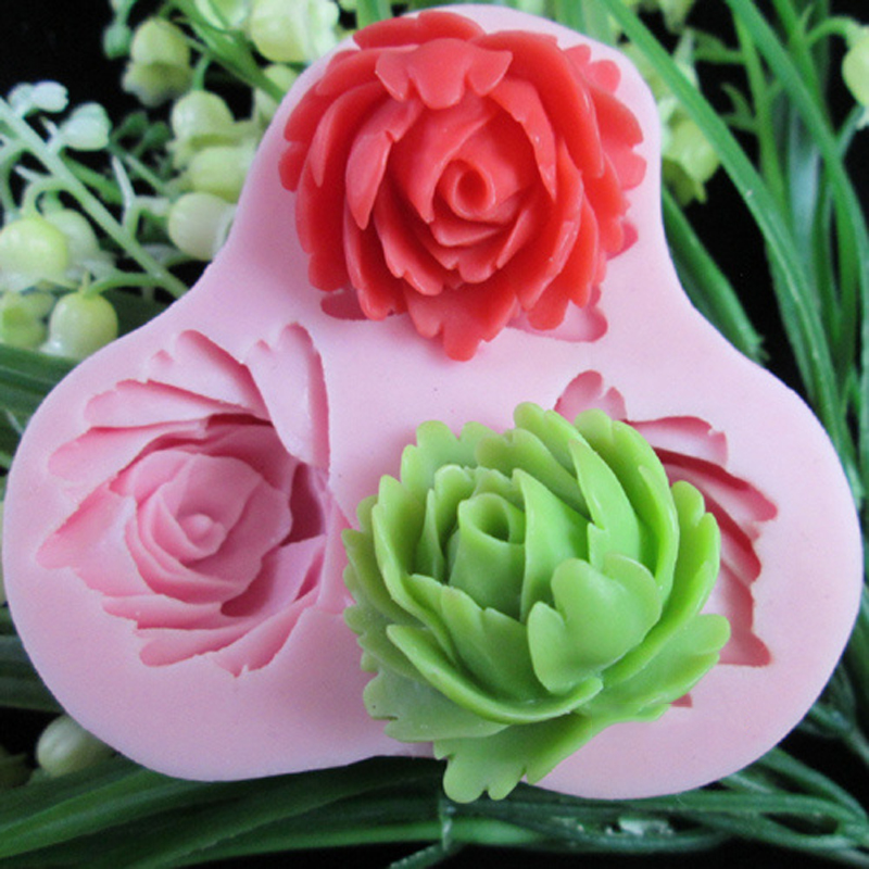3 hole roses Arylic Resin Flower silicone mold,fondant molds,sugar craft tools,chocolate mould ,soap candle molds for cakes