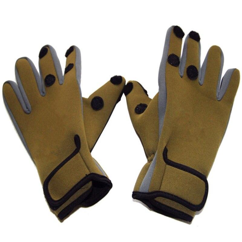 Sport Leather Fishing Gloves Men 3 Half-Finger Breathable Anti-Slip Glove Neoprene&PU Fishing Equipment 1Pair/Lot
