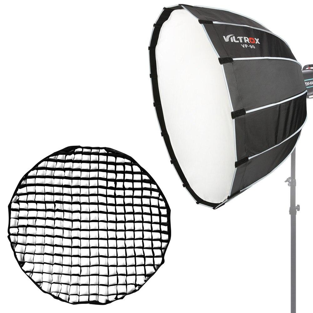 VILTROX 36 ''/90 cm Parabolique Softbox avec Bowens Mont/Grille, hexadecagon Profonde Parabole Rapide Pliage Softbox pour Photo Studio