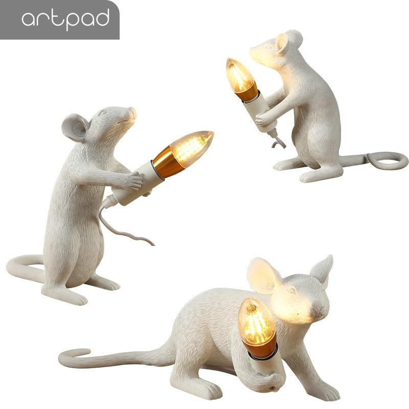 Artpad Creativo Bianco Rat Mouse Luce EU/Spina DEGLI STATI UNITI In Lampade Da Comodino per Camere Da Letto DC12V Arte Scrivania Lampada Decorativa casa di Illuminazione - 5