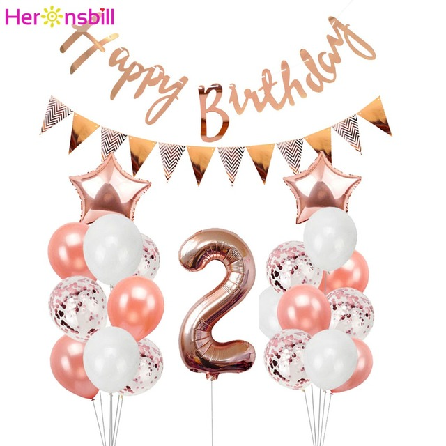 Heronsbill 2 Years Old Balloons Kits 2nd Birthday Party Decorations Boy Girl I Am Two Paper