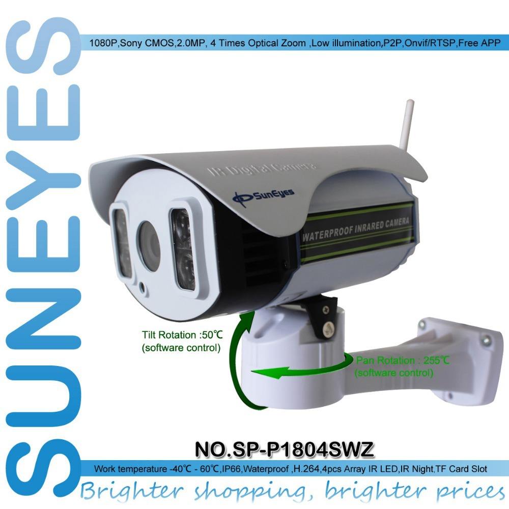 SunEyes SP P1804SWZ 1080P IP Camera Wireless Outdoor PTZ 2 0MP With TF Micro SD Slot
