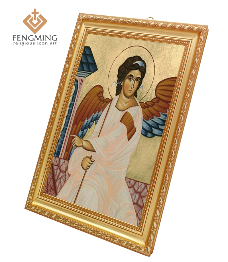 Religious Art Prints Plastic Photo Frames Icon of the Holy Guardian Angel Image Byzantine Greek Orthodox Icons Pendant Vintage