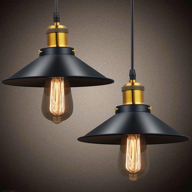 Vintage Pendant Lights Retro Pendant Lamp Metal Lustres Loft Hanging Light Black Lampshades Russia Dining Lighting Luminarias