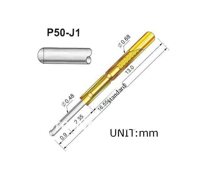 ①FREE SHIPPING 100PCS/LOT P50-J1 Dia 0.68mm Length 16mm