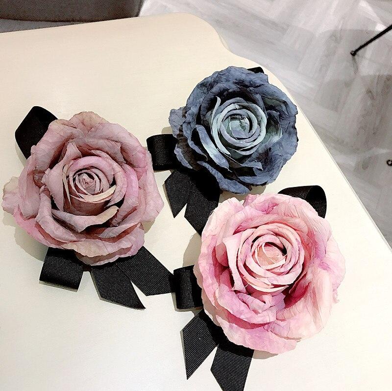 Handmade Big Flower Pearl High Quality Rhinestone Shirt Pins Neck Bow Tie Bow Knot Apparel Accessories Fashion Jewelry