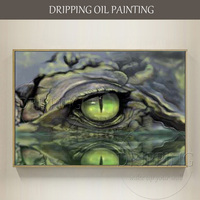 Realist Style Artist Hand painted High Quality Crocodile's Eye Oil Painting on Canvas Horrible Crocodile Eye Oil Painting