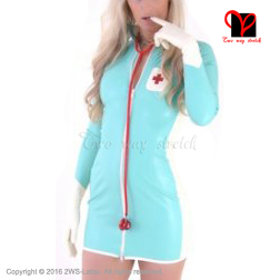 Sexy jade green Latex Nurse Dress with gloves Rubber doctor uniform long sleeves Playsuit Medical Bodycon XXXL plus size QZ-040