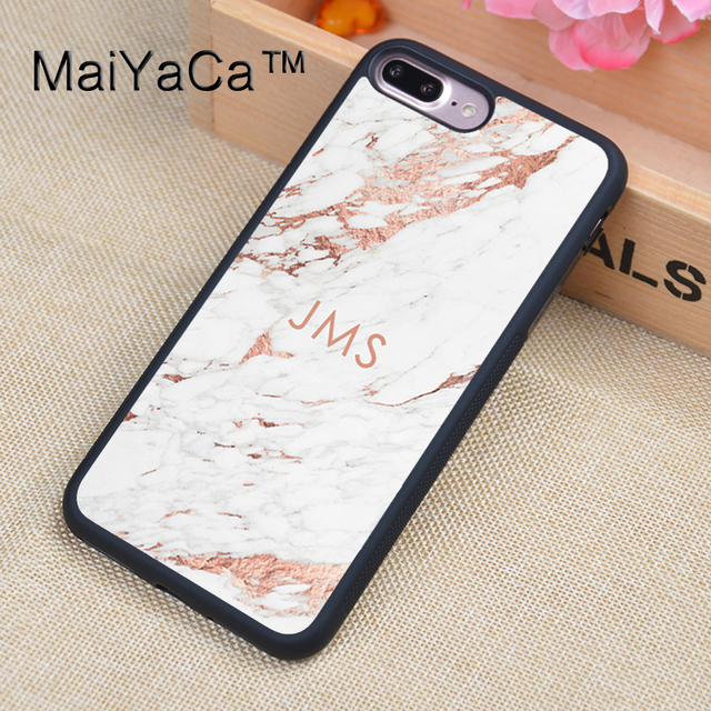 brand new 7a88b 47f4b US $4.3 5% OFF|MaiYaCa Custom Initials Monogram Rose Gold Marble Printed  Phone Cases For iPhone 8 Plus Luxury Back Cover TPU Protective Shell-in ...