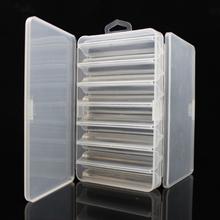 Podwójna strona 14 przedziałów połowów przynęty Box dla Minnow krewetki przynęty metal łyżka przynęty pojemnik pojemniki wędkarskie pudełko tanie tanio weihefishing WF_FHG_70C Plastikowe Przezroczyste