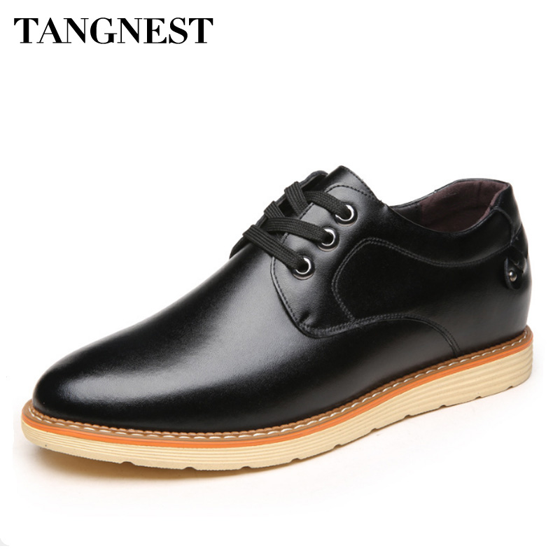 Tangnest Genuine Leather Men Dress Shoes Lace Up 6 CM Height Increasing Men Casual Shoes British Male Elevator Shoes