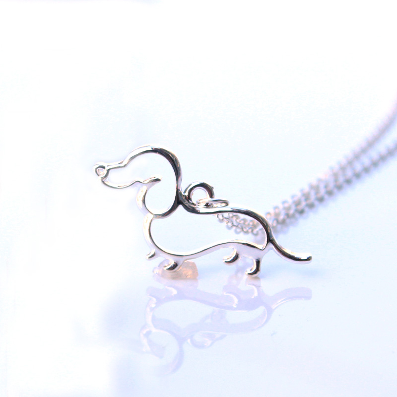 New Cute Little Puppy Dog <font><b>Pendant</b></font> Necklace Silver Dachshund Necklace