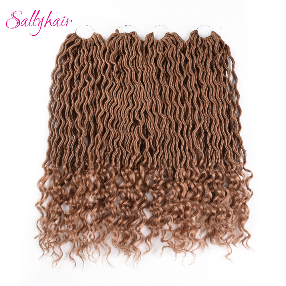 Sallyhair 24 Strands Pack Faux Locs Curly Ombre Colored