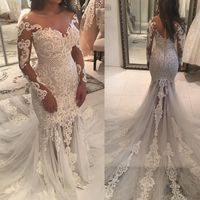 Новое Великолепное свадебное платье русалки 2019 Аппликация Тюль Свадебные платья невесты с длинным рукавом и пуговицами сзади