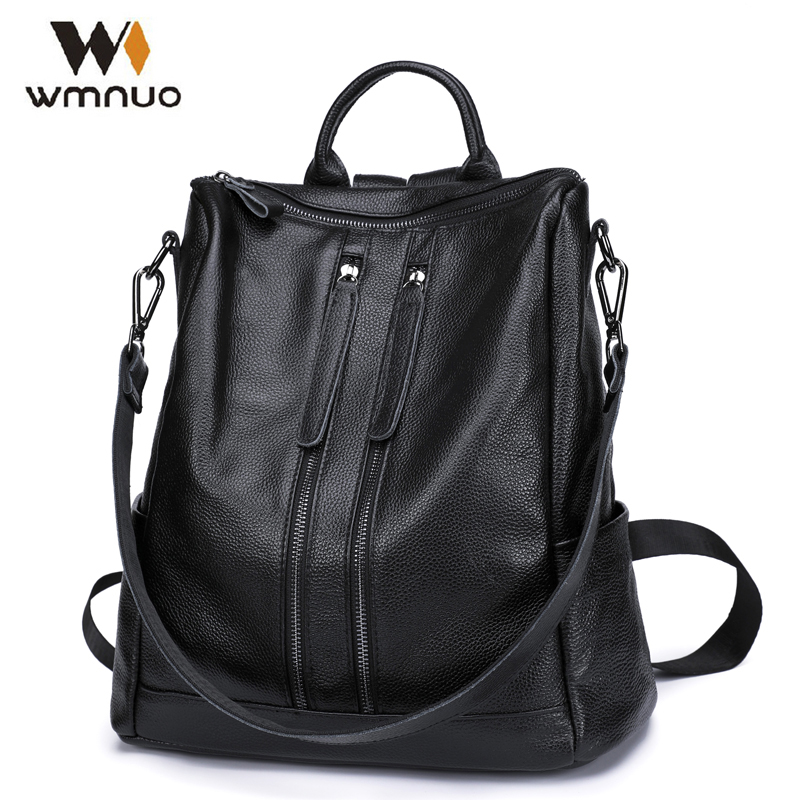 Wmnuo Women Backpack Cow Leather For Girls School Bags Fashion Shoulder Bag Mochila Designer Travel Bag Casual Computer Backpack 2016 new fashion women backpack girls leather school bag women casual style shoulder bags sweet color