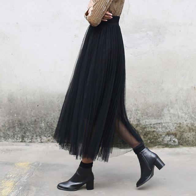 New Yichaoyiliang Hoge Taille Zwarte Lange Rok Vrouwen Winter Lolita #KN61
