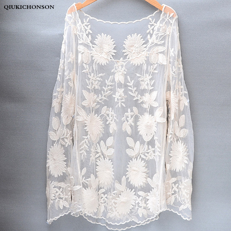 Long sleeve lace tops ladies cute flower embroidery lace blouses women sun-proof o-neck sexy blusa transparente beach cover up
