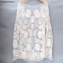 Long Sleeve Lace Blouse Ladies Cute Floral Embroidery Lace Tops White Beige See-through Sexy Women Beach Cover Up dentelle lace up see through lace teddy