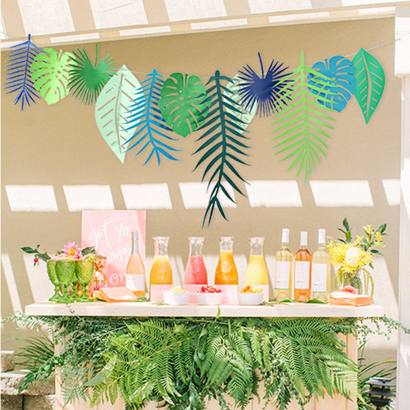 1 Set Happy Birthday Tropical Coconut Leaves Garland Flamingo Banner Flag Wedding Decoration Bachelorette Event Party Supplies