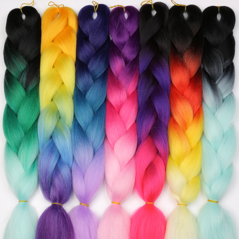 La srta. peluca Ombre Kanekalon trenzas Jumbo pelo trenzado sintético 60 Color disponible 100g 24 pulgadas de la extensión del pelo de rosa azul verde 1pce
