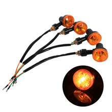4PCS/Set Universal Motorcycle/Motorbike Turn Signal Indicators Blinker Amber Lights Bulbs Lamps 12V