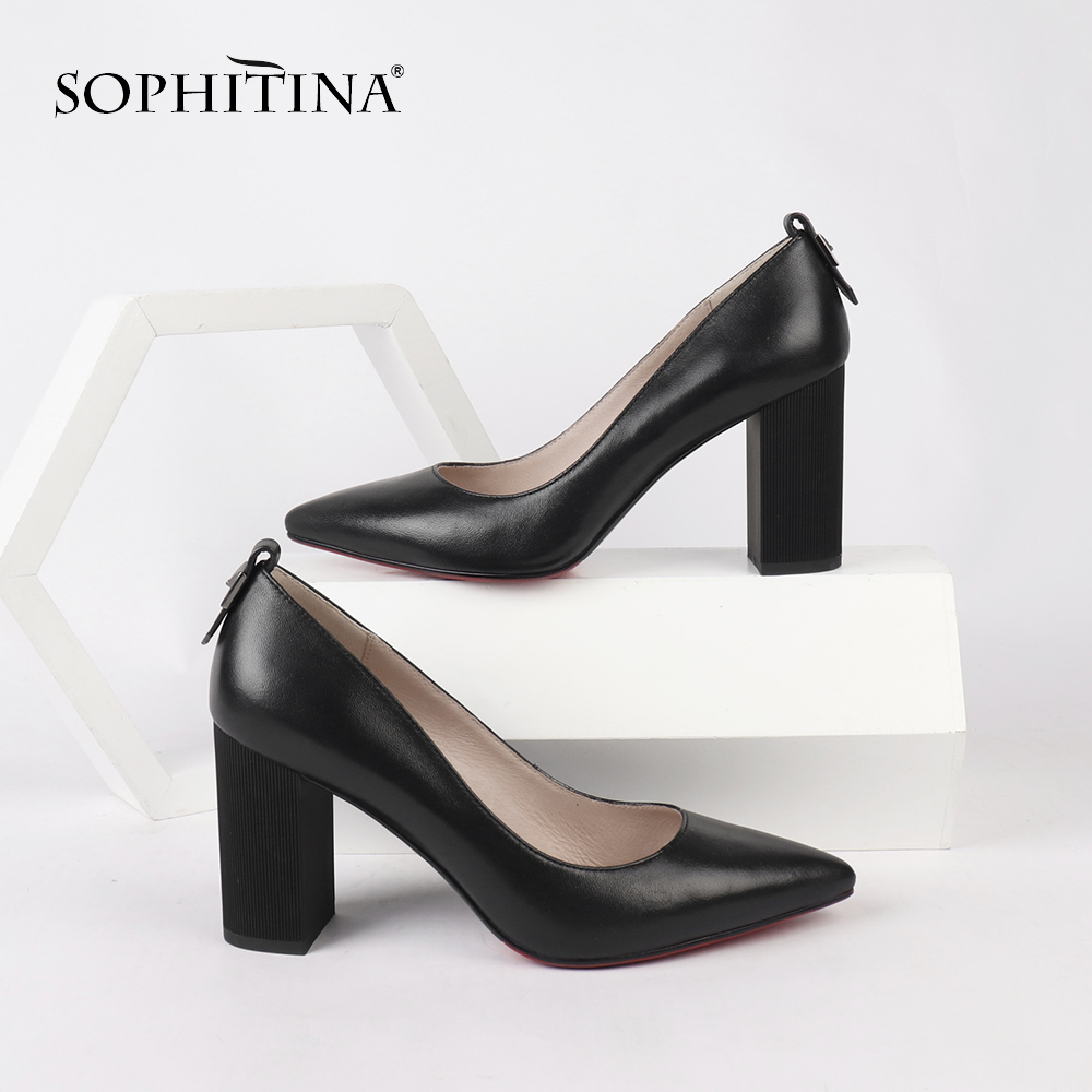 SOPHITINA Classics Woman Pumps Pointed Toe Shallow Comfortable Casual Beautiful Solid Color Shoes Square Heel Sexy Pumps C159