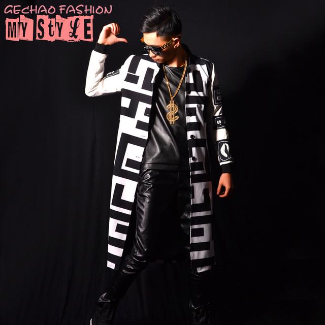 Hombre abrigos chaqueta larga blanco negro bloque fresco vestido de rendimiento muestran discoteca bailarín cantante ropa Al Aire Libre Delgado desgaste de la demostración