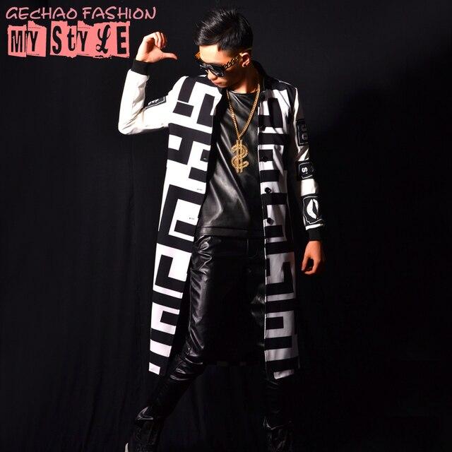Masculino casacos longo jacket preto branco bloco legal dancer cantor roupas desempenho vestido show de boate Fino Ao Ar Livre desgaste espetáculo