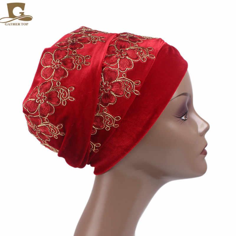 Новый роскошный 3D цветок бархат тюрбан с длинной головкой Обёрточная бумага головка Обёрточная бумага стильный головной шарф, женский, хиджаб шапка