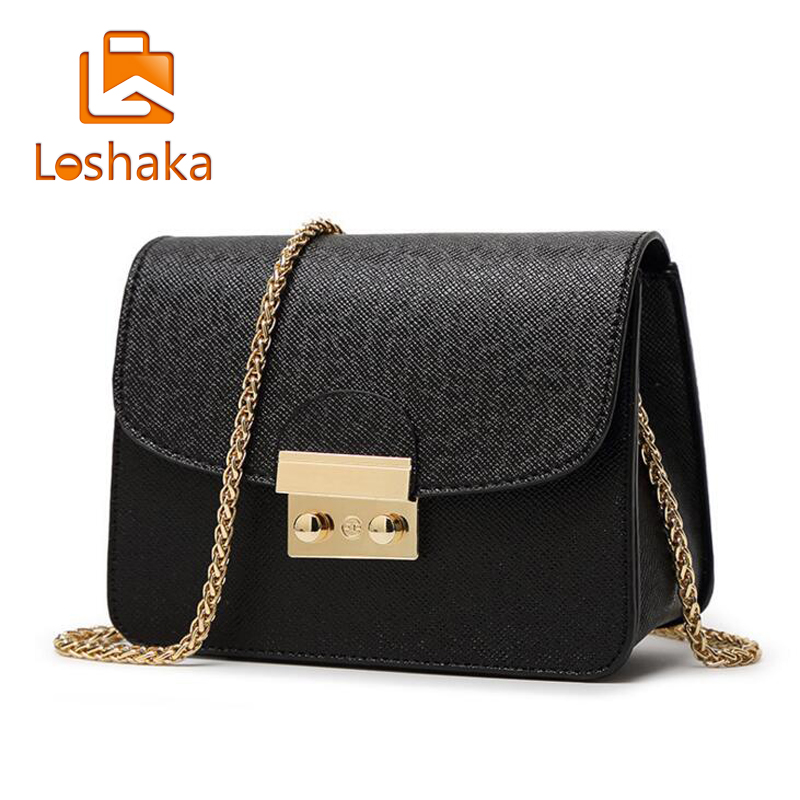 Loshaka Summer Brand Bags Women Leather Handbags Chain Small Women Messenger Bag Candy Color Women Shoulder Bag Party Lock Purse