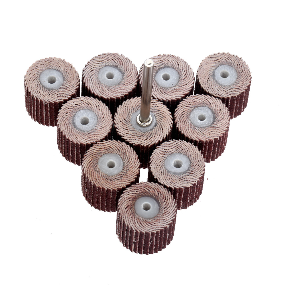 10Pc 15mm 240-Grit Sandpaper Sanding Flap Wheel Head Grinding Buffing Wheel For Dremel Rotary Tool+Mandrel For Rotary Mini Drill
