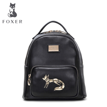 FOXER Marca Mujeres Del cuero Genuino Mochila Girls school bag ladies soft preppy style mochilas