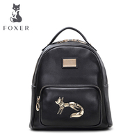 FOXER Girls School Bag Ladies Women Soft Preppy Style Genuine Leather Solid Small Backpack Free Shipping