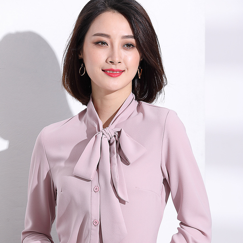 Bow Tie Office Lady Long Sleeve Spring Fashion OL Slim Buttons Pink Chiffon Blouse Shirt Lotus Pink S/M/L/XL