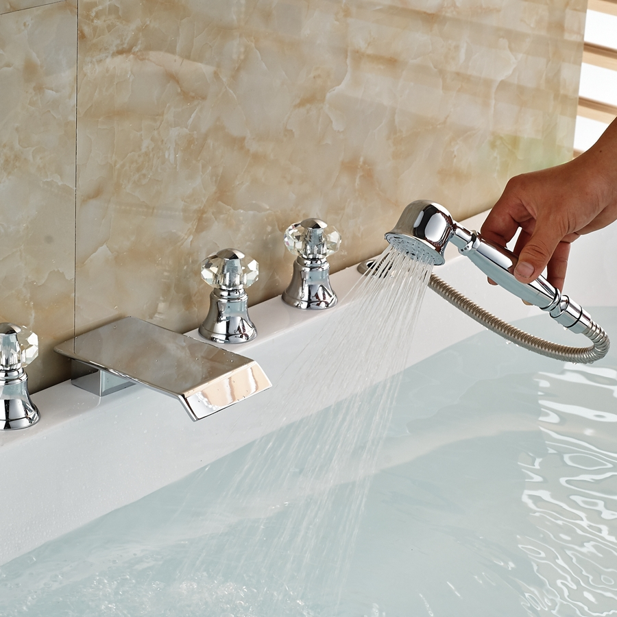 Elegant Polished Chrome Brass Bathroom Tub Faucet Square Waterfall Mixer Tap free shipping polished chrome finish new wall mounted waterfall bathroom bathtub handheld shower tap mixer faucet yt 5333
