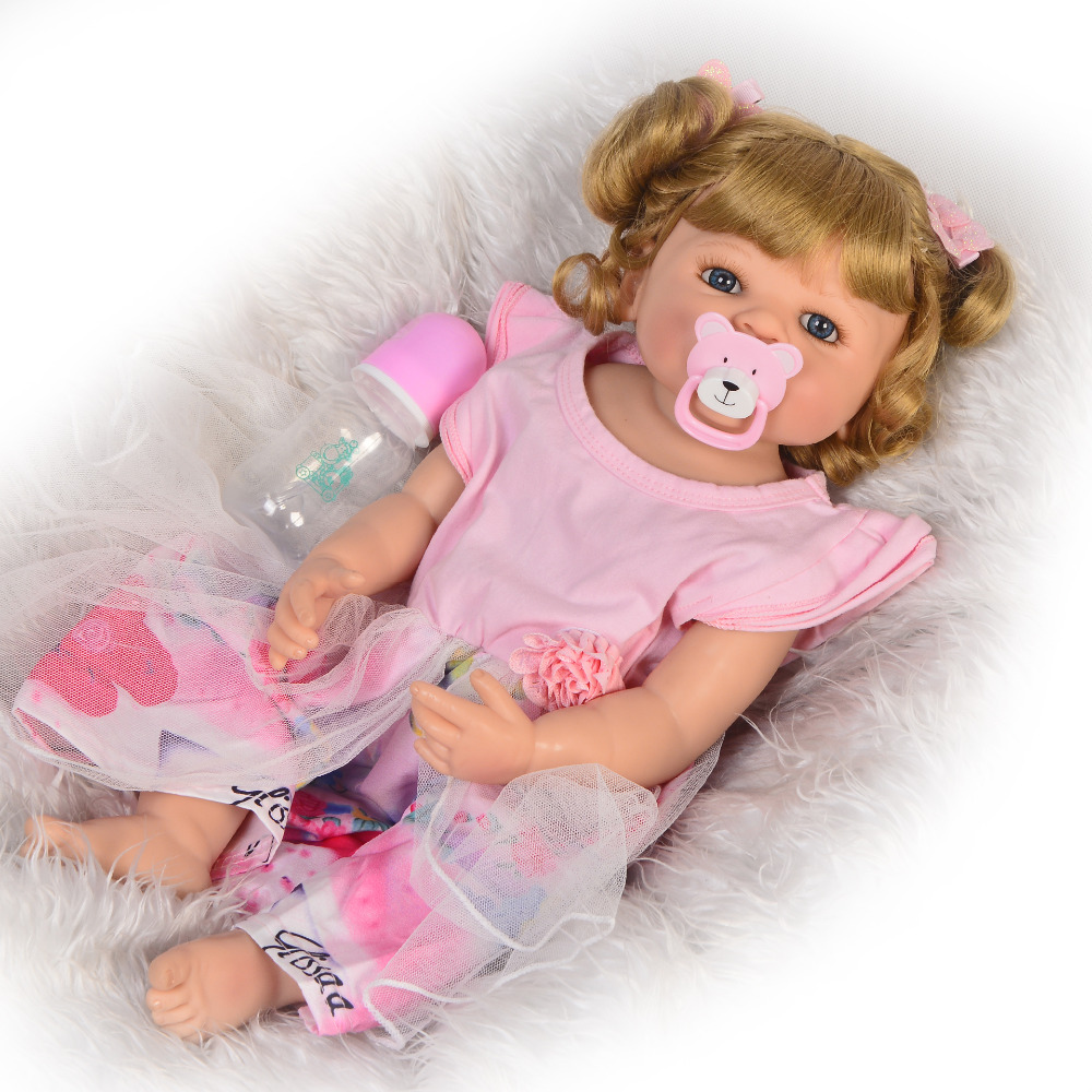 Silicone Reborn Baby Dolls Vinyl BEBES Toys 55CM girl in pink princess skirt For children bath Toys Dolls Surprise holiday gift