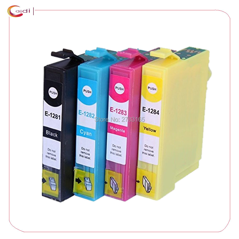 4PCS Compatible for epson T1281 ink cartridge For EPSON Stylus S22 SX125 SX130 SX230 SX235W SX420W SX425W SX430W SX435W Printer