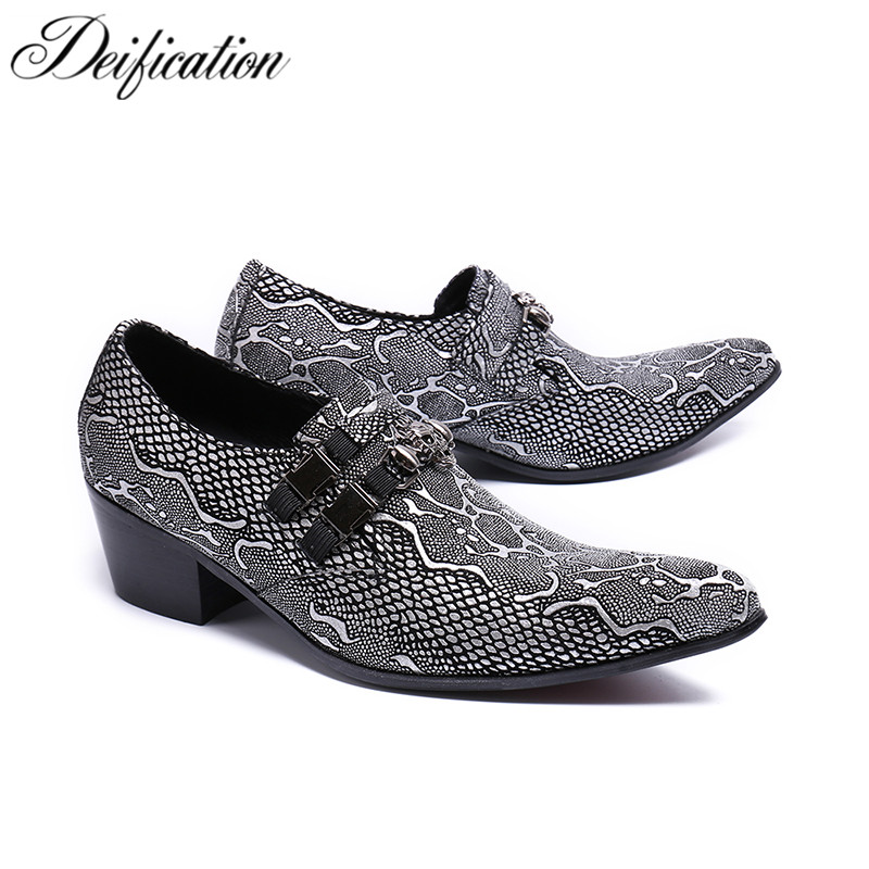 Deification mocassin homme Fashion Printed Men Wedding Shoes Slip On Office Mens Dress Shoes Leather Formal Shoes Men Plus Size цена 2017