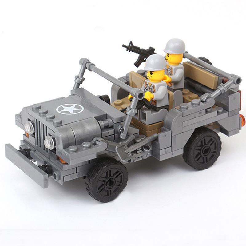 WW2 Military US Willys MB Jeep Building Blocks Soldiers With Weapons Bricks Classic U.S Army Vehicle Model Toys for Children цена