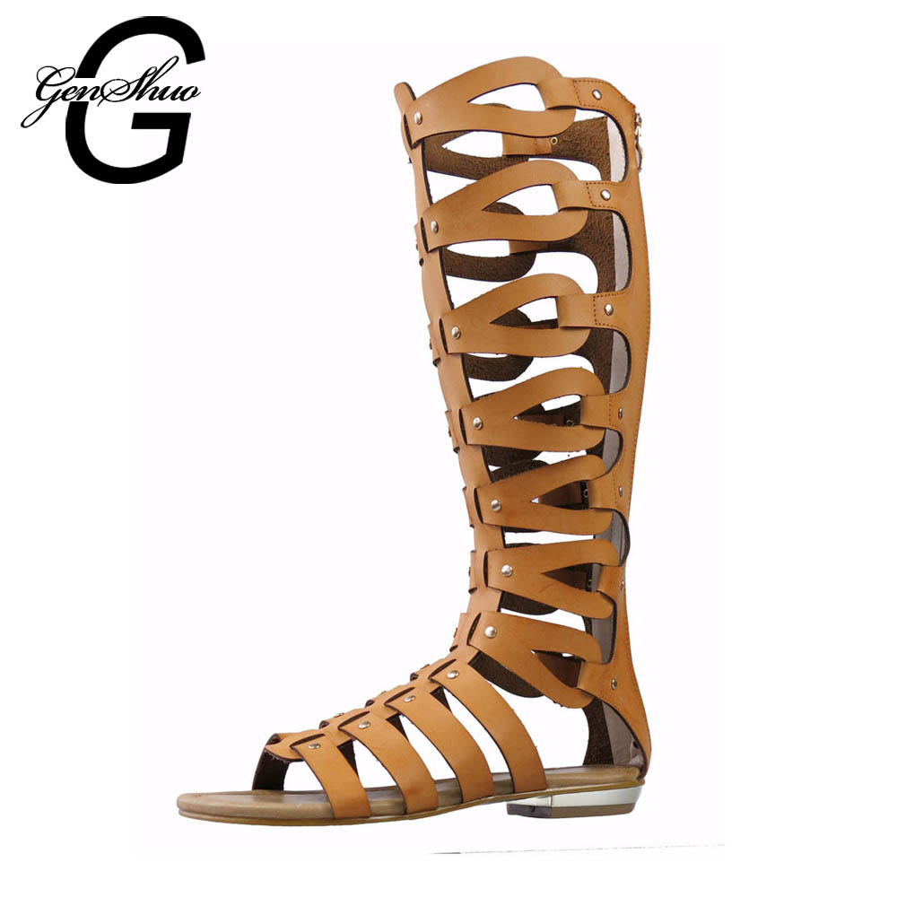 GENSHUO Women Gladiator Flat Sandals Shoes Women Summer Knee Boot for Summer White Black Gold Rome Sandals Casual Big Size 42 стоимость